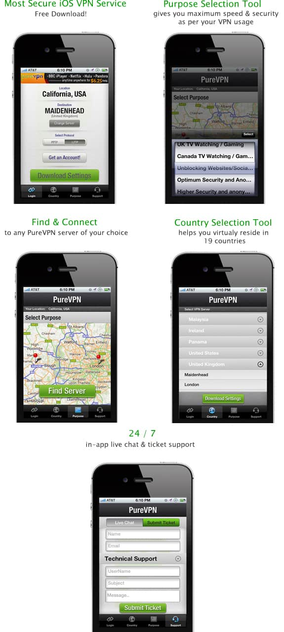 PureVPN iphone app overview