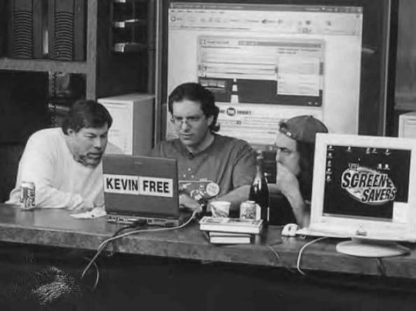 Steve Wozniak, Kevin Mitnick and Emmanuel Goldstein on Jan. 20, 2003