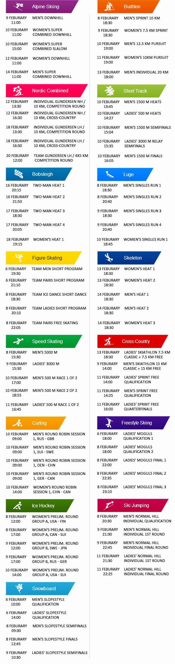 What Winter Games will we see in Sochi Olympics 2014? Sochi Olympics will give us 592 hours of full enjoyment of 98 events in 15 Winter sports. Games that we will be watching in Sochi Olympics 2014 are: