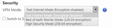 VPN Mode Security and Speed Feature