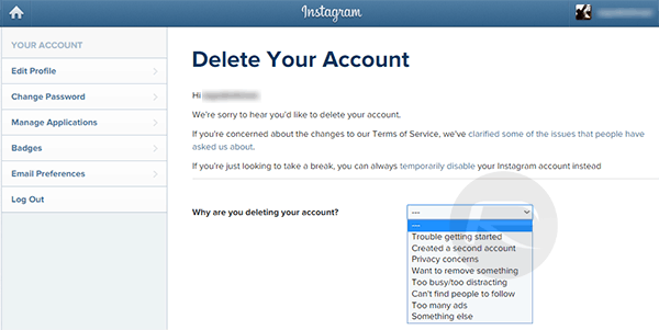 How to delete your instagram account delete instagram account ccuart Image collections