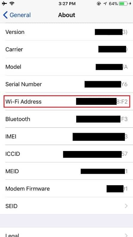 MAC Address listed as Wi-Fi Address