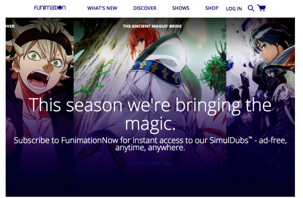 Watch Anime online at Funimation