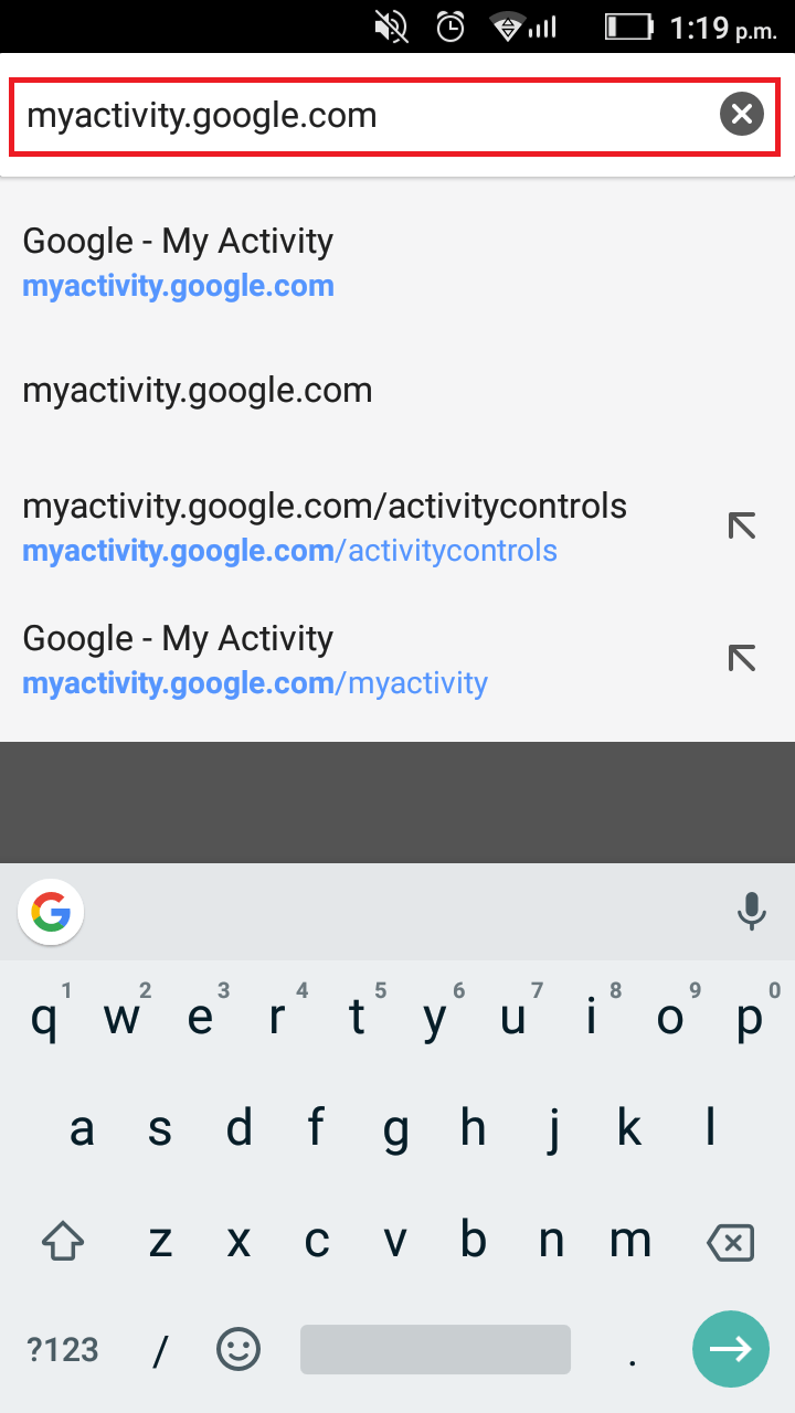 Delete Google Search History on Android