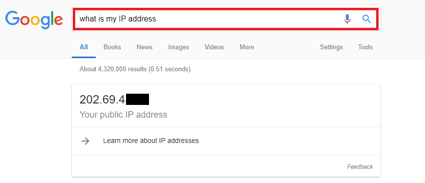 locating public IP address on Google