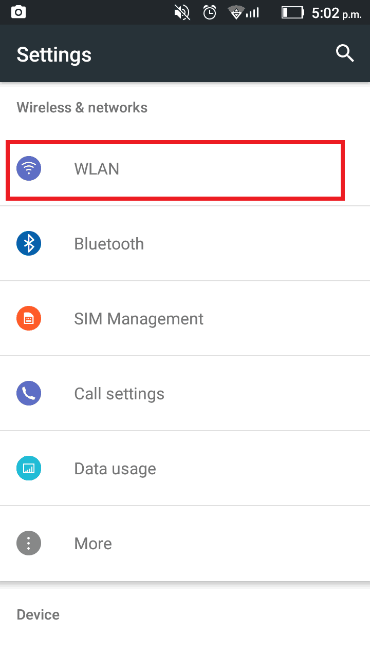Locate private IP address android