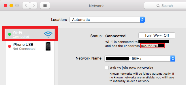 locating private IP address Mac