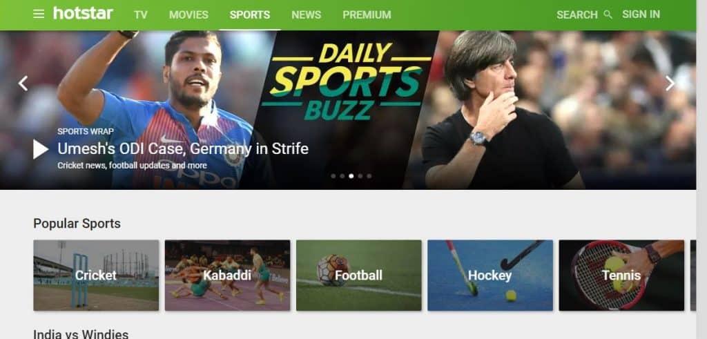 Hotstar sports streaming