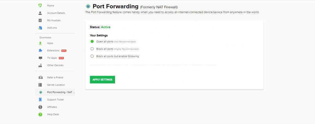 PureVPN Port Forwarding Add-on