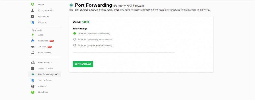 PureVPN Port Forwarding Addon