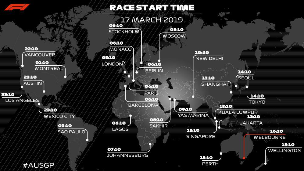 Australian GP time in different zones