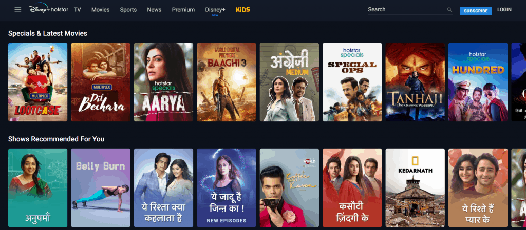a picture preview of hotstar shows
