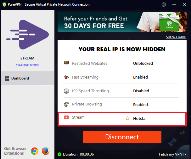 a picture of purevpn interface