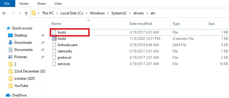 Go-to-c:\windows\system32\drivers\etc