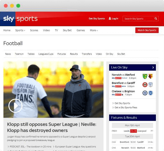 sky sports football streaming site