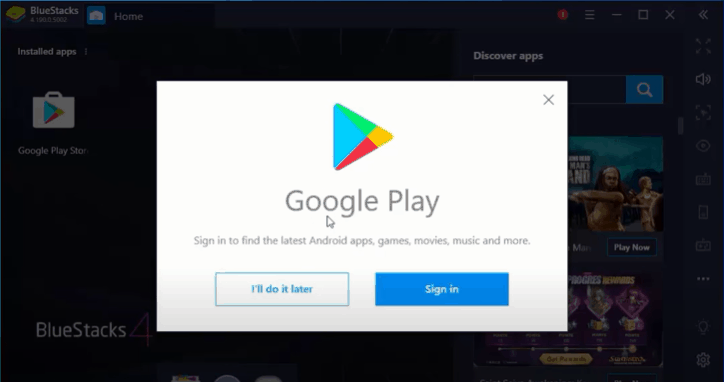 log into google play store on bluestacks