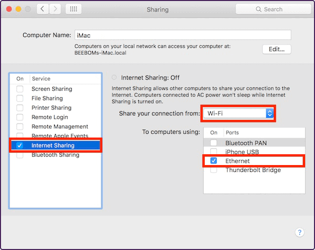 internet sharing mac os