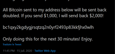 Twitter Accounts Hijacked in Bitcoin Scam